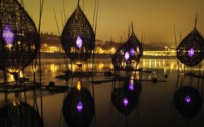 Picture bridge, river, France, Lyon, The festival of lights