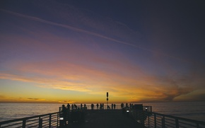 Picture sky, sunset, water, clouds, people, pier