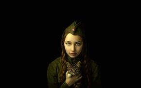 Picture girl, portrait, braids, military uniform, kitty