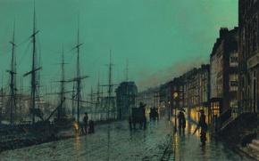 Picture night, the city, street, Marina, home, ships, picture, port, coach, bridge, mast, John Atkinson Grimshaw