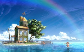 Picture sea, figure, island, rainbow, house