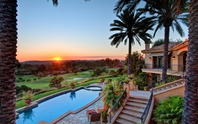 Picture Villa, the evening, pool, pool, view, dusk, St.Andrews