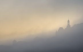 Picture night, fog, France, Champtoceaux