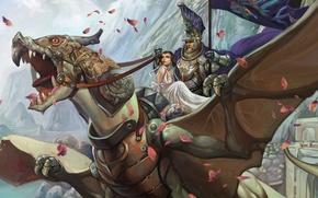 Picture girl, fantasy, dragon, rider