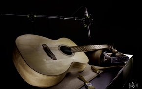 Picture microphone, music, guitar