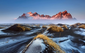 Picture the sky, grass, mountains, fog, morning, haze, Iceland, Vestrahorn, Stockksness, black lava sand