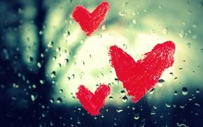 Picture glass, drops, macro, love, rain, heart, window, hearts, love, feeling