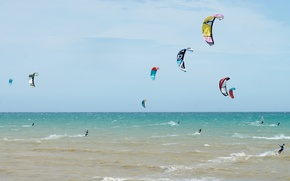 Picture sea, the sky, the wind, parachute, Board, kitesurfing