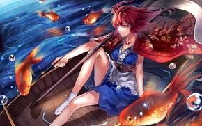 Picture girl, river, anime, painting, fish, Touhou, boat, redheaded, Onozuka Komachi, Xhosa