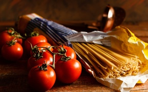 Wallpaper tomatoes, spaghetti, food, vegetables