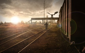 Picture road, Apocalypse, train, Moscow