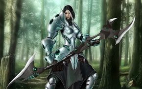Picture forest, girl, weapons, elf, armor, fantasy, art, fantasy, forest, warrior, elf, warrior, Max Antonov, Ravyn …