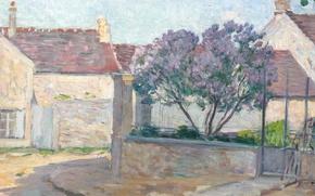Picture house, street, picture, the urban landscape, Henri Lebacq, Village Street in Anjou