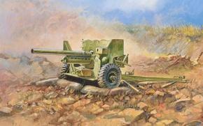 Picture Tiger, art, gun, USSR, tanks, weapons, high, British, 400, WW2., shells, set, was, 1942, heavy, …