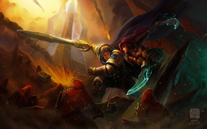 Picture art, warrior, katarina, battle, girl, lol, Kan Liu, League of Legends