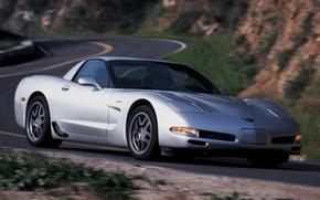 Picture road, background, Z06, Corvette, Chevrolet, silver, Chevrolet, supercar, the front, Corvette