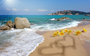 Picture sand, beach, love, romance, heart, figure, love, sunshine, beach, sea, romantic, sand, hearts, message, plumeria, ...