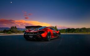 Picture McLaren, Orange, Front, Sunset, Death, Road, Supercar, Valley, Spoiler, Hypercar, Exotic, Rear, Volcano, Extra, Terrestrial