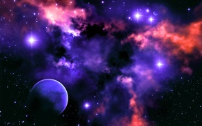 Picture the sky, stars, light, nebula, color, planet