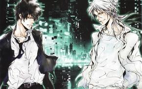 Picture night, skyscrapers, white hair, grin, two guys, white shirt, eye to eye, Psycho-pass, Shinya Kougami, …