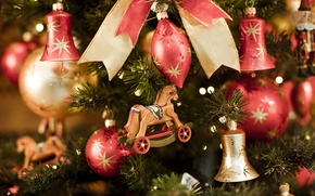 Picture toys, tree, spruce, bow, bells, wooden, Christmas decorations, horse