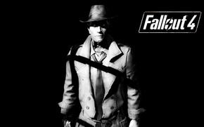 Picture dark background, synthetic, Fallout 4, Nick Valentine