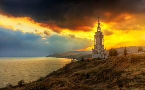 Picture sea, shore, lighthouse, hill, temple, Crimea