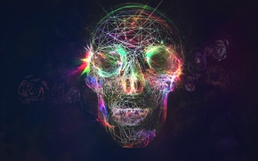 Picture skull, roses, glow