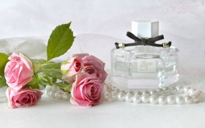Picture roses, perfume, necklace, vintage