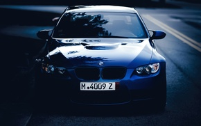 Picture road, blue, bmw, BMW, twilight, the front