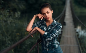 Picture look, girl, face, sweetheart, portrait, makeup, brunette, hairstyle, light, shirt, river, cell, beautiful, the beauty, …