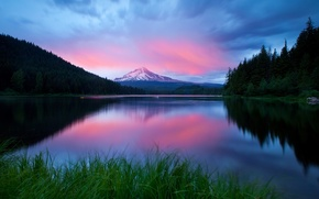 Wallpaper lake, the evening, mountains, the sky, grass, forest