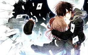 Picture card, the moon, Amnesia, Shin, hugs, Heroine, Hanamura Mai, Oskolki