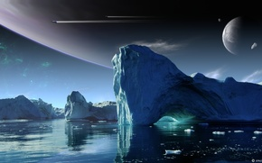 Picture the sky, water, rocks, planet, ice, Planetary Scouts
