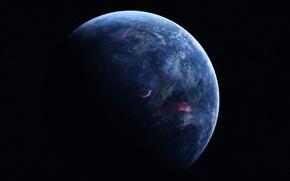 Picture dark, black, blue, planet, sci fi