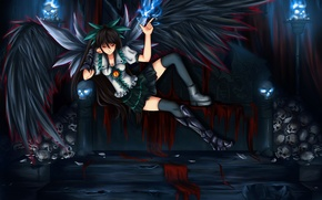 Picture girl, eyes, sofa, magic, wings, the demon, art, skull, red eyes, reiu equipment, utsuho, touhou, …