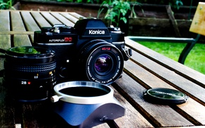 Picture table, background, Board, camera, blur, garden, the camera, lens, Konica, cap
