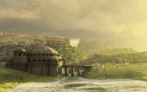 Picture the sky, grass, clouds, mountains, bridge, house, river, planet, byzantium worlds, reworked
