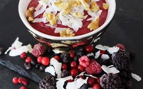 Picture berries, raspberry, nuts, dessert, BlackBerry, cereal, Kalina