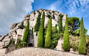 Picture the sky, clouds, trees, mountain, Spain, the monastery, Catalonia, Montserrat