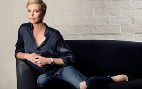 Picture wall, Charlize Theron, model, brick, jeans, actress, hairstyle, blonde, photographer, blouse, sitting, on the couch, …