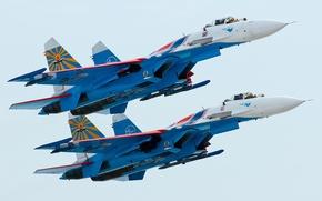 Wallpaper flight, pair, su-27