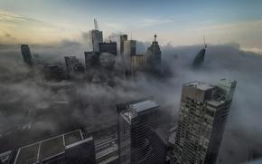 Picture fog, skyscrapers, Canada, Toronto, architecture