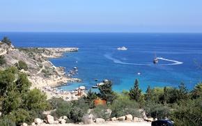 Picture sea, beach, blue, Bay, sea, blue, bay, Cyprus, Cyprus, lagoon, relaxation, Konnos Bay, rocky coast