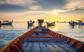 Picture shore, boat, the evening, harbour