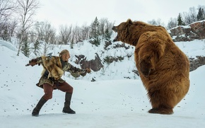 Picture winter, bear, the fight, Vikings, The Vikings, Alexander Ludwig, Bjorn