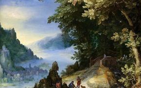 Wallpaper A rocky River Landscape with Travellers, Jan Brueghel the elder, picture