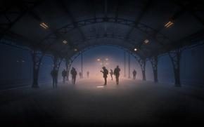 Wallpaper melancholy, light, lantern, fog, station, people, Silence