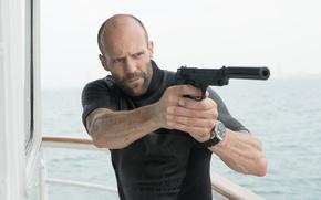Picture wallpaper, hitman, sky, sea, man, movie, Jason Statham, ship, assassin, killer, film, yacht, pose, boat, …