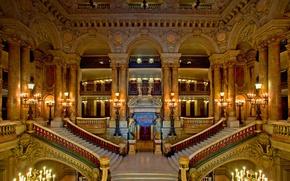Picture France, Paris, ladder, stage, theatre, hall, Palais Garnier, Grand Opera